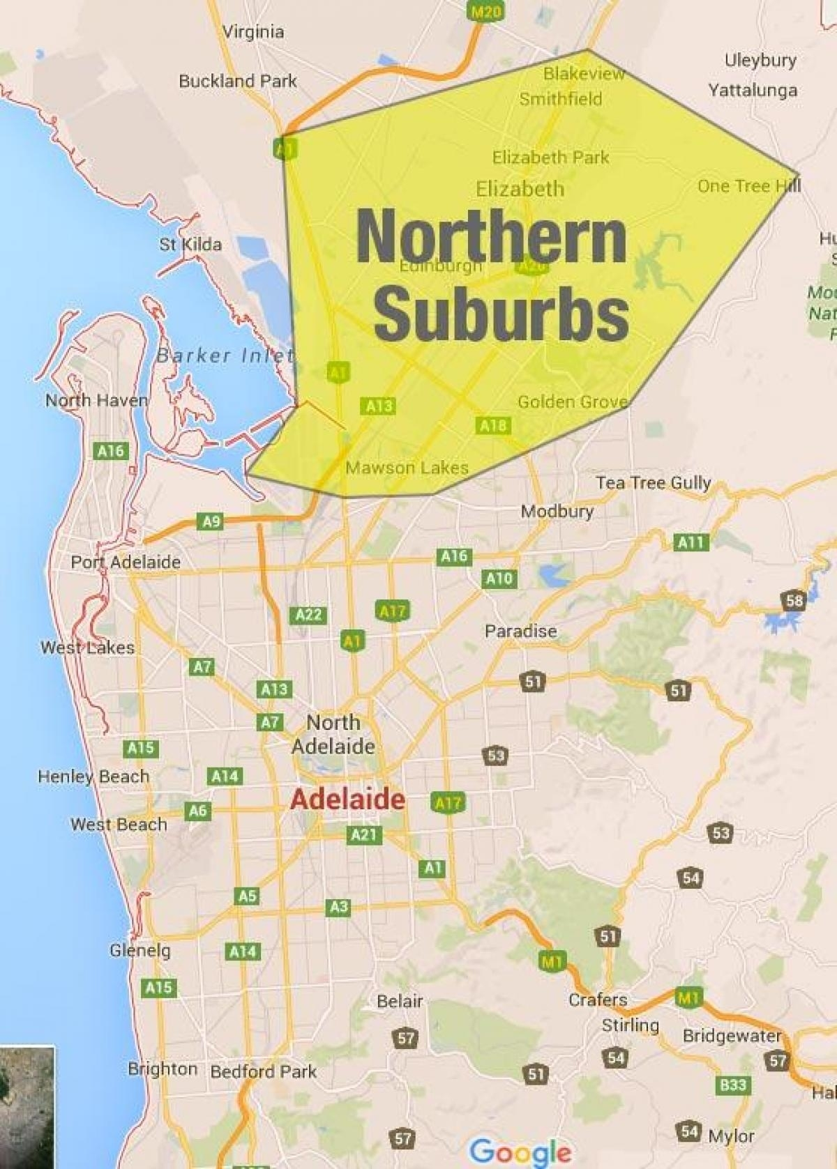 Adelaide Northern Suburbs Map - Northern Suburbs Adelaide intended for Map Of Perth Australia Suburbs