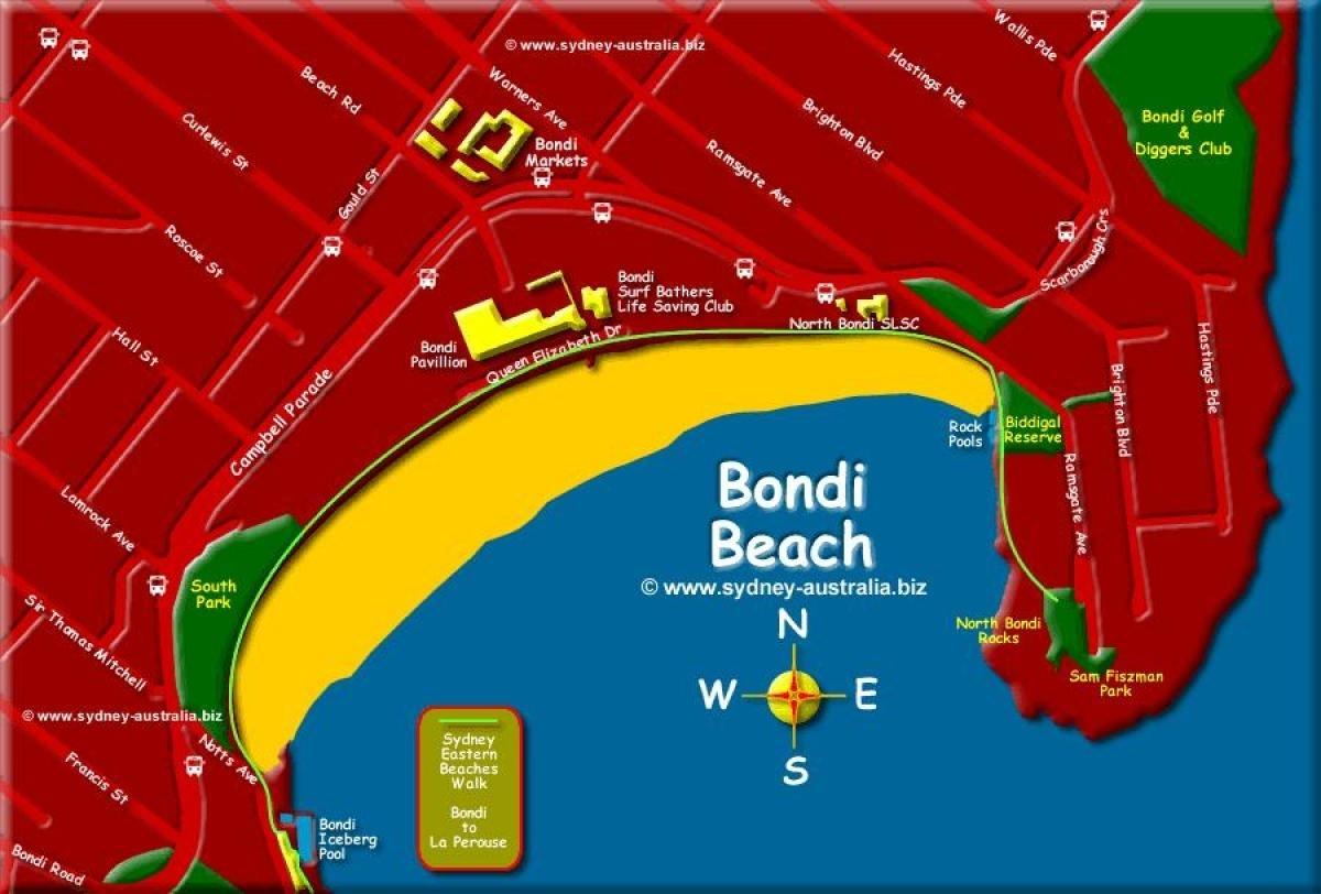 Bondi Beach Map - Bondi Beach Map Sydney (Australia) with regard to Bondi Beach Australia Map