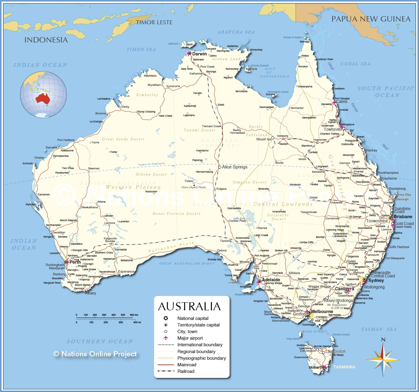 Detailed Map Of Australia - Nations Online Project regarding East Coast Australia Map