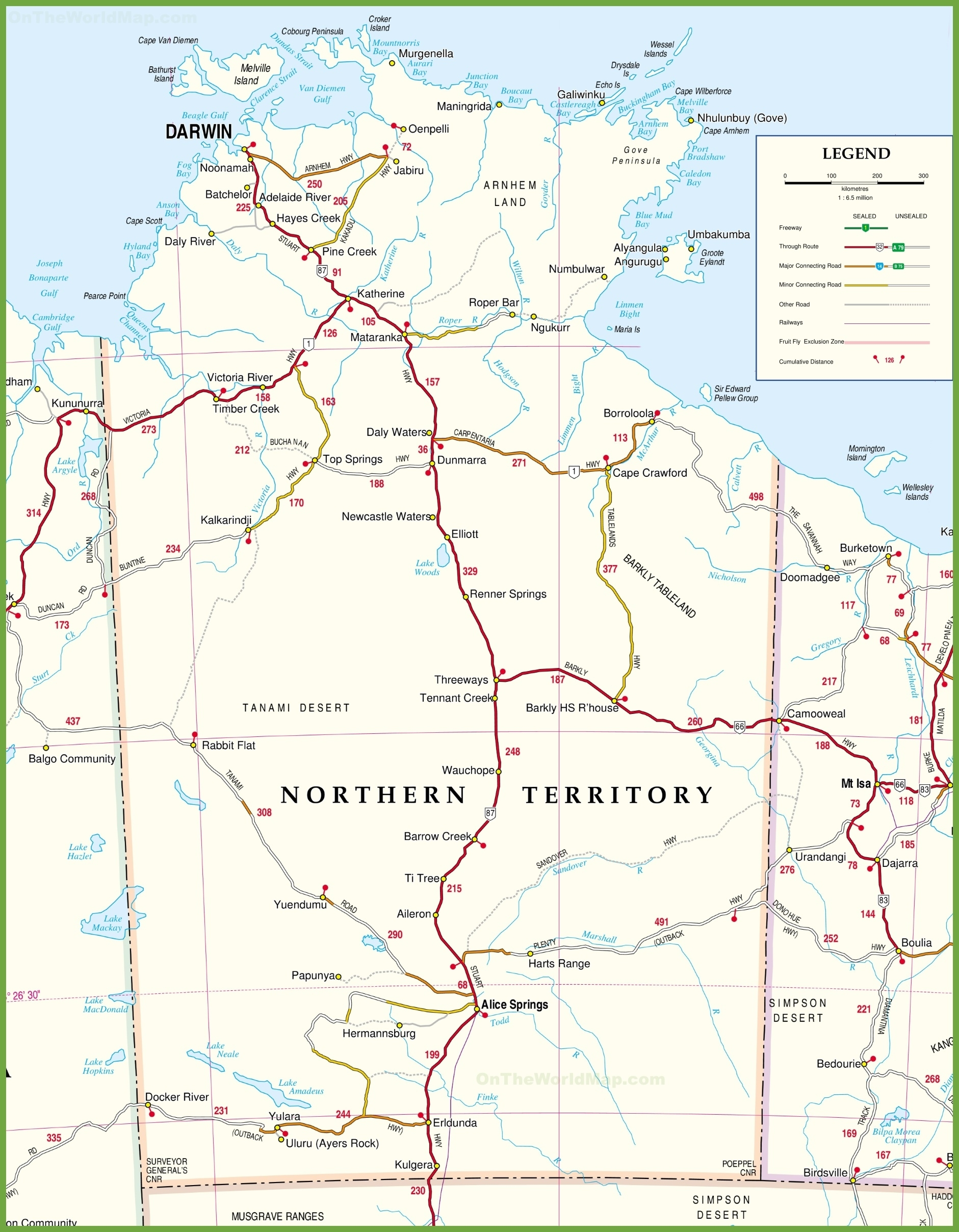 Large Detailed Map Of Northern Territory With Cities And Towns with regard to Northern Territory Map Australia