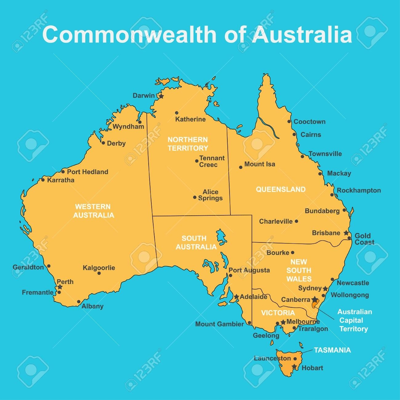 Map Of Australia Showing Capital Cities.Map Of Australia With Cities Australia Map
