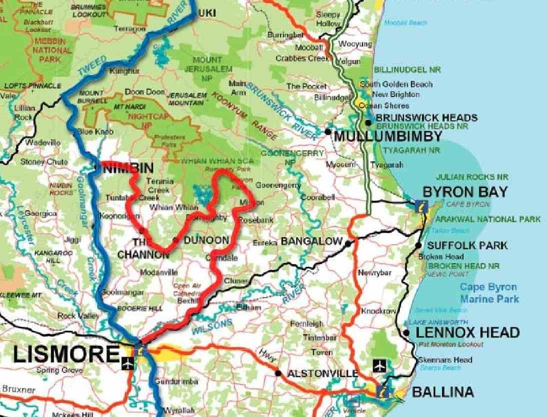 Map Of Northern Rivers Region inside Byron Bay Australia Map