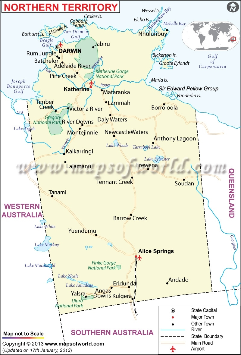 Map Of Northern Territory Australia - Maps Of World throughout Northern Territory Map Australia