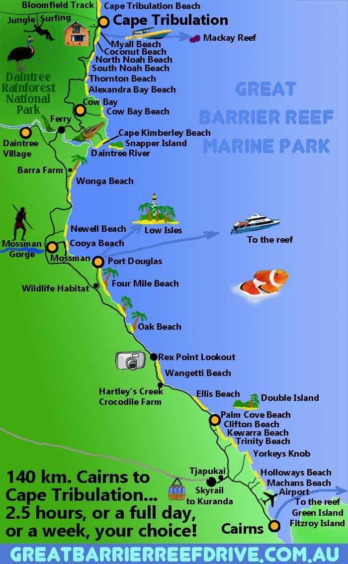 Maps Of The Great Barrier Reef Drive From Cairns To Cape intended for Cairns Australia Map Google Earth
