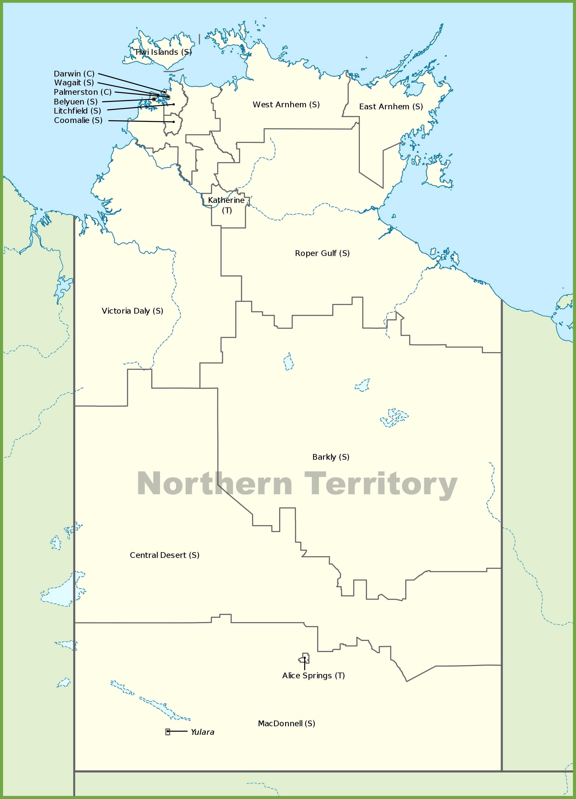 Northern Territory Local Government Area Map pertaining to Northern Territory Map Australia