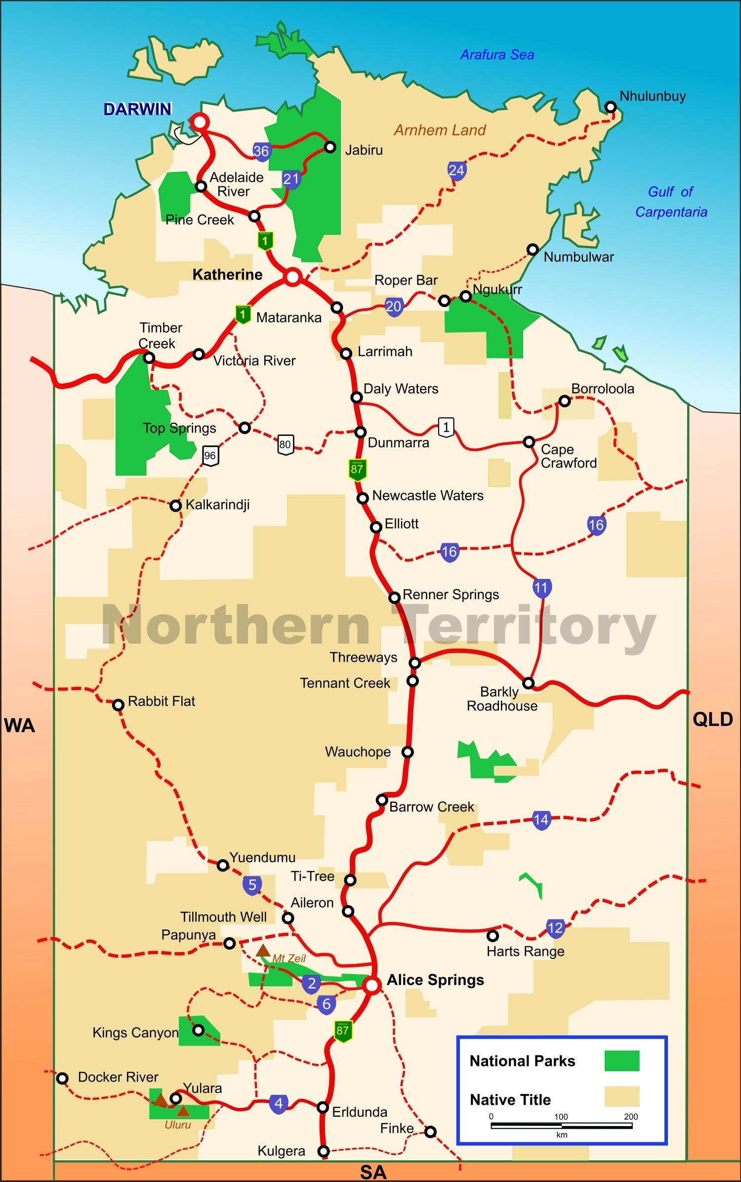 Northern Territory National Parks Map regarding Northern Territory Map Australia