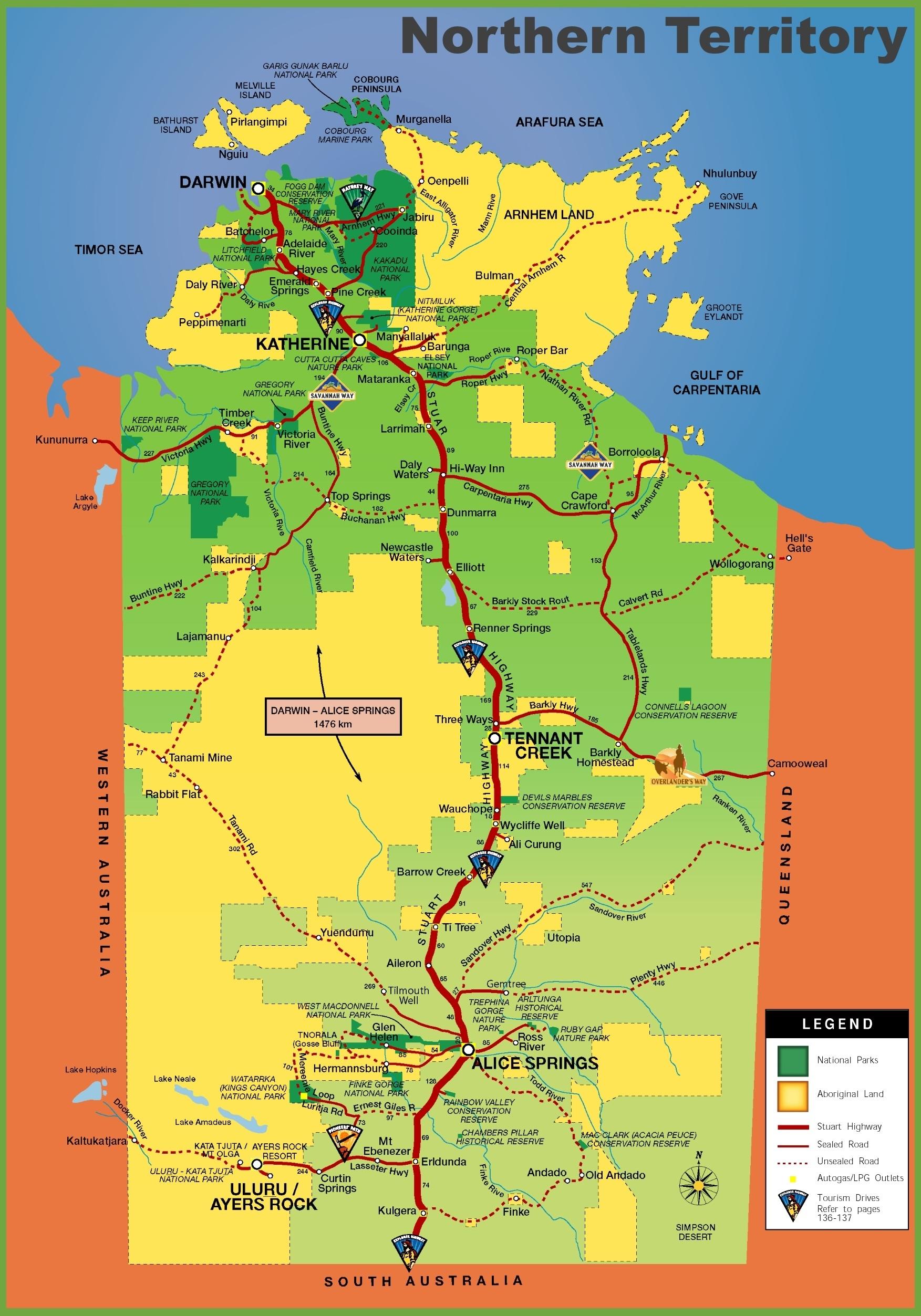 Northern Territory Tourist Map inside Northern Territory Map Australia