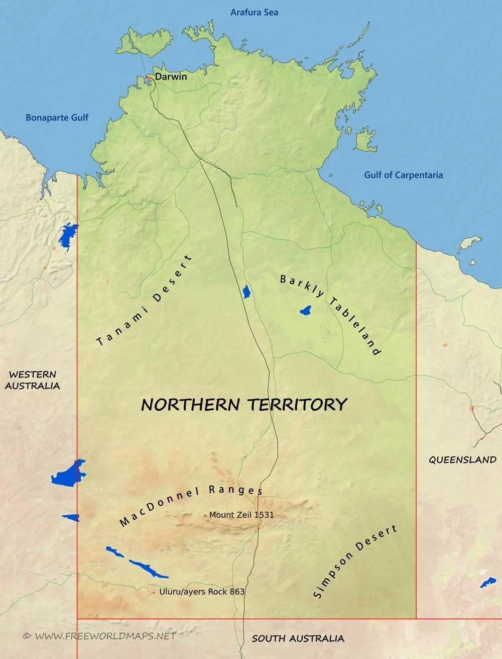 Physical Map Of Northern Territory, Australia throughout Northern Territory Map Australia