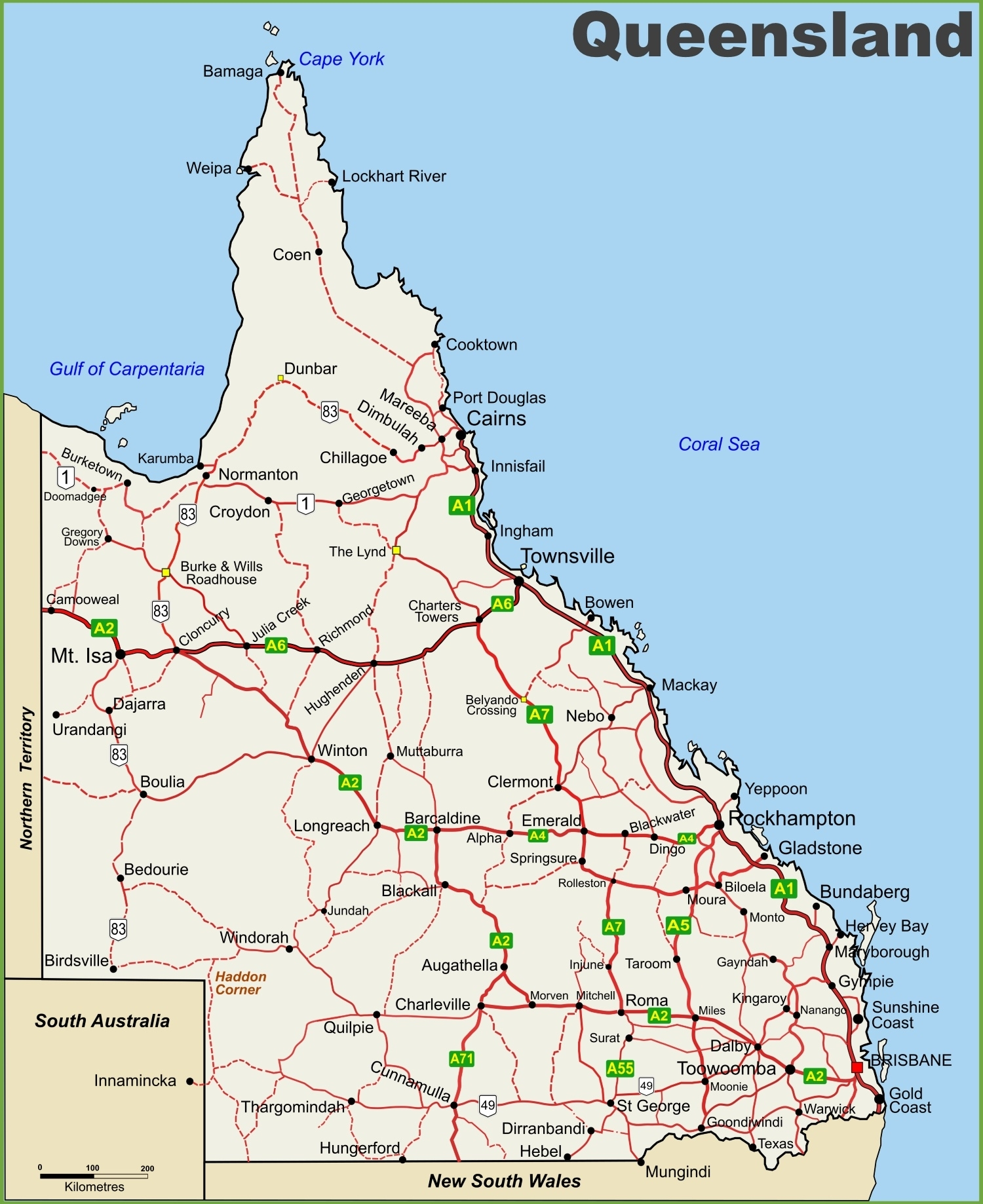 Queensland Highway Map pertaining to Google Maps Australia Qld