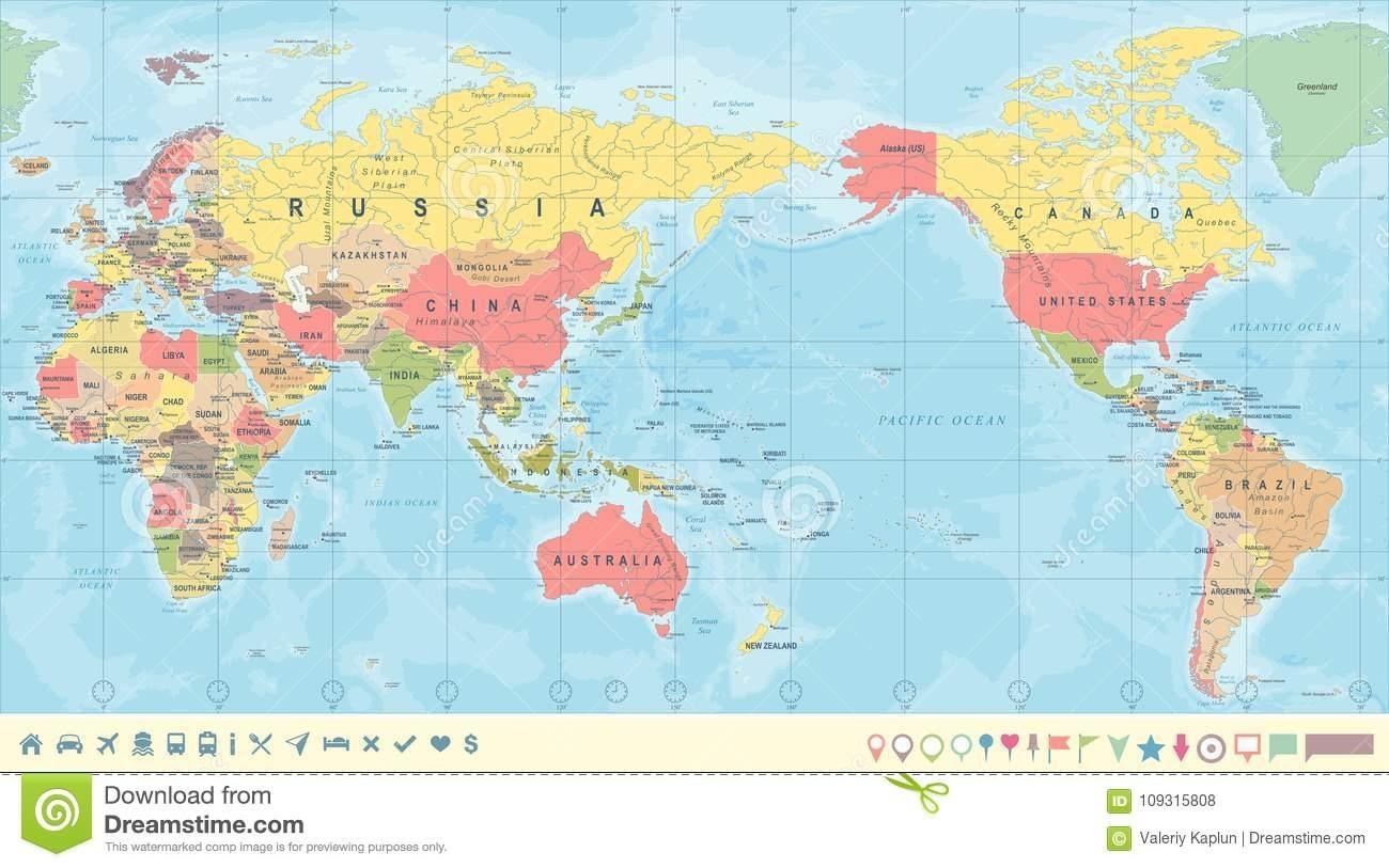 Picture of: World Map Australia Centred Australia Map