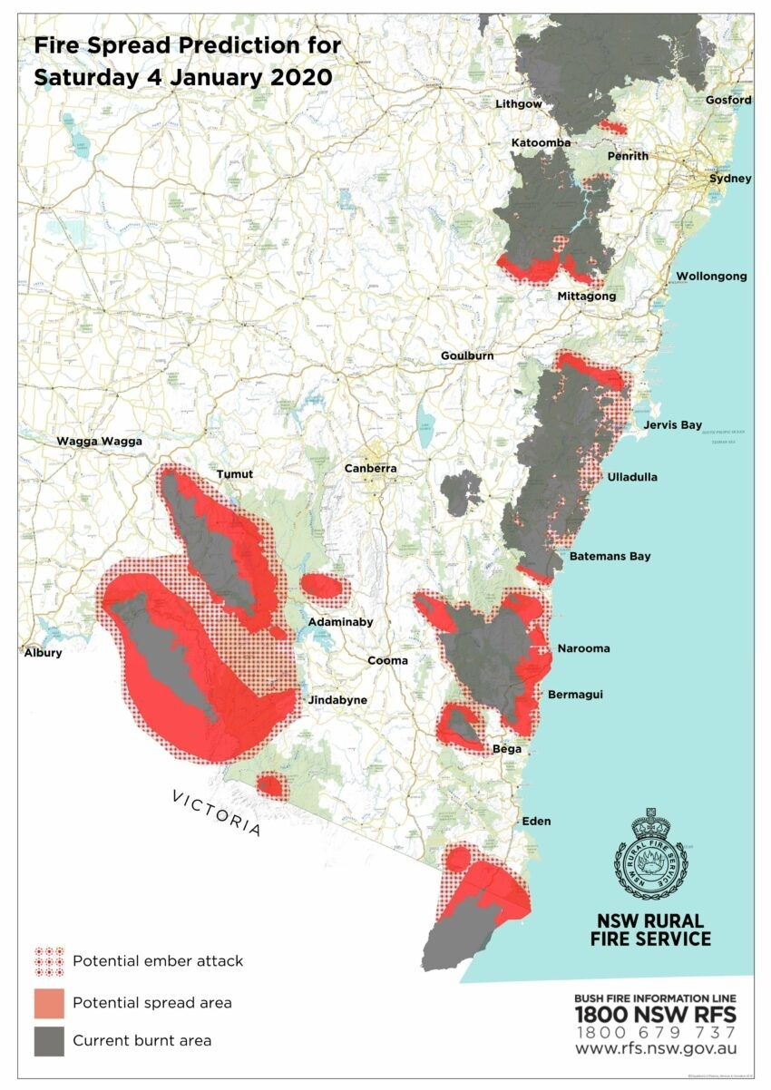 Australia Fires: Projected Fire Maps Released within Australia Fire Map Bom