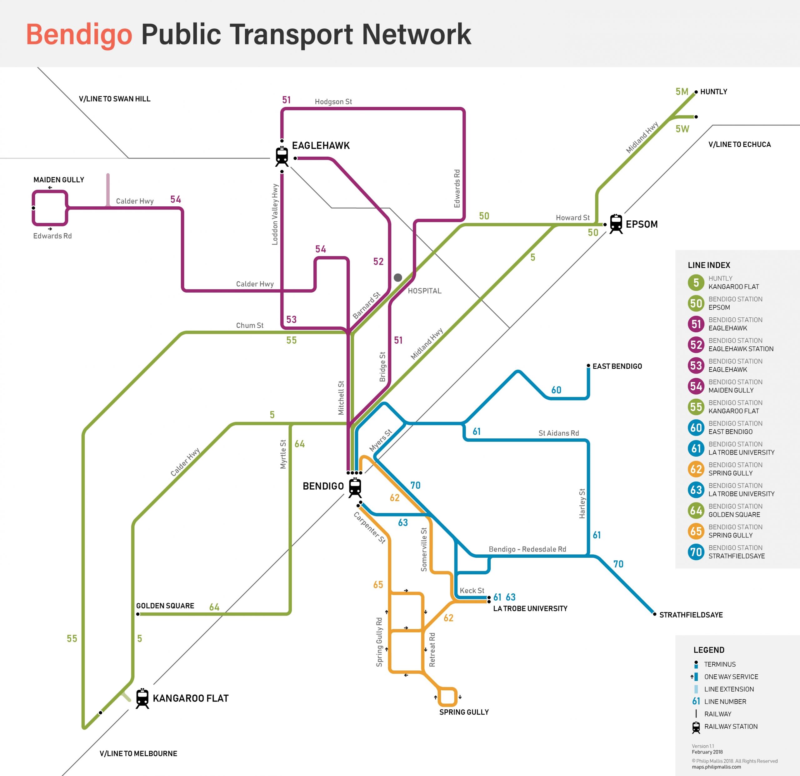 Bendigo Public Transport Map – Mapsphilip Mallis regarding Melbourne Greater Metropolitan Area Map