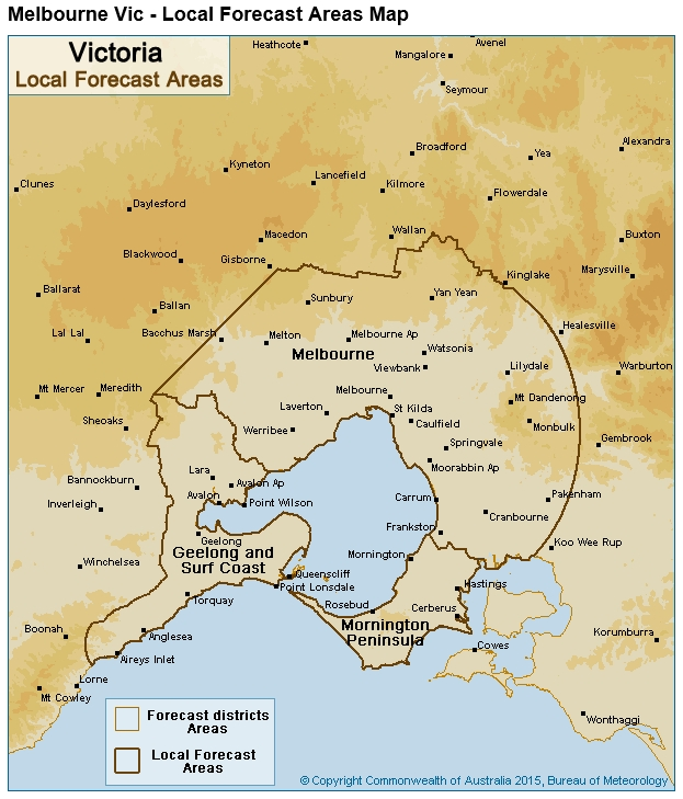 Choose Your Weather Forecast: Close To Home Or Bigger throughout Melbourne Metropolitan Area Boundary Map