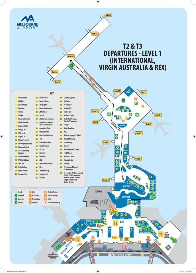 墨尔本机场地图/平面图-Itrip爱去自由 with regard to Melbourne Florida Airport Terminal Map