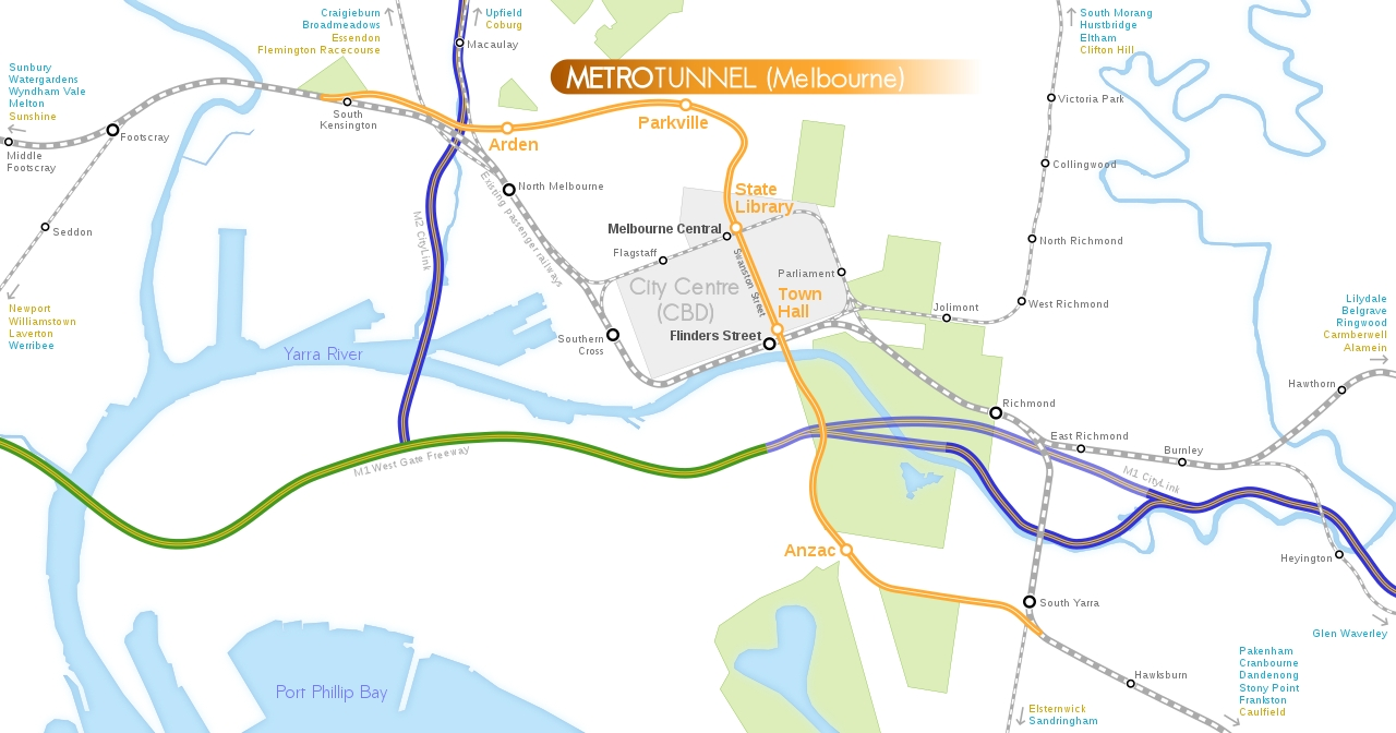 File:melbourne Metro Rail Tunnel Route Map.svg - Wikimedia regarding Melbourne Metropolitan Area Map Lockdown