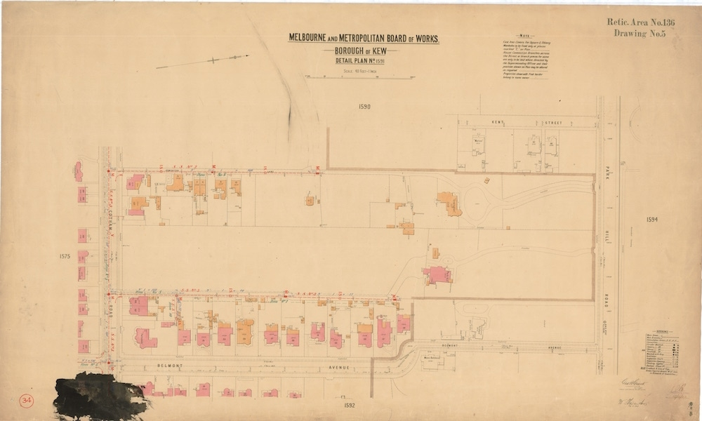 Map.0132 – Mmbw Detail Plan No.1591, Borough Of Kew inside Melbourne Metropolitan Area Boundary Map