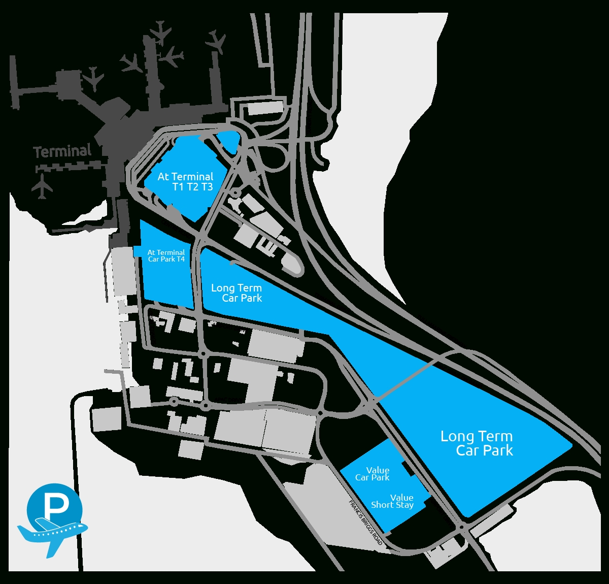 Melbourne Airport Parking Map   Flyparks intended for Melbourne Florida Airport Terminal Map