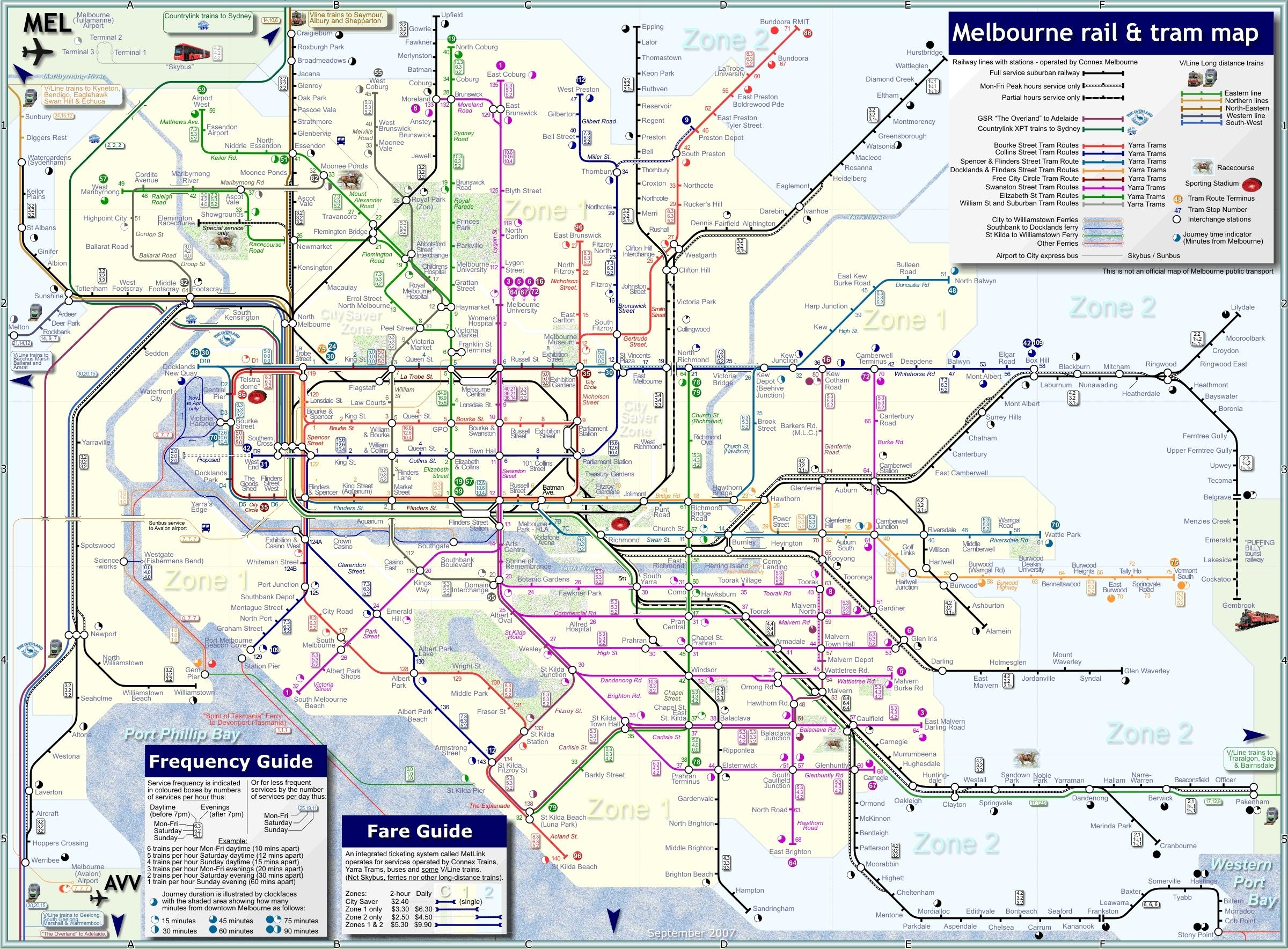 Melbourne Australia Public Transportation Map - Melbourne with Melbourne Greater Metropolitan Area Map