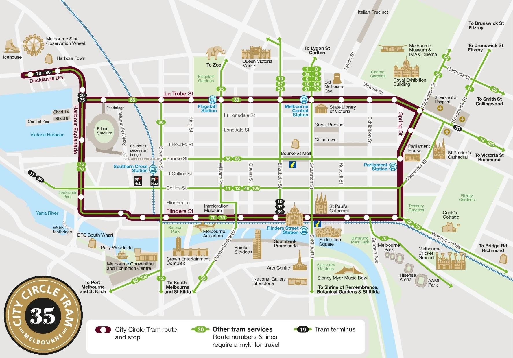 Melbourne City Circle Tram Map inside City Of Melbourne Australia Map