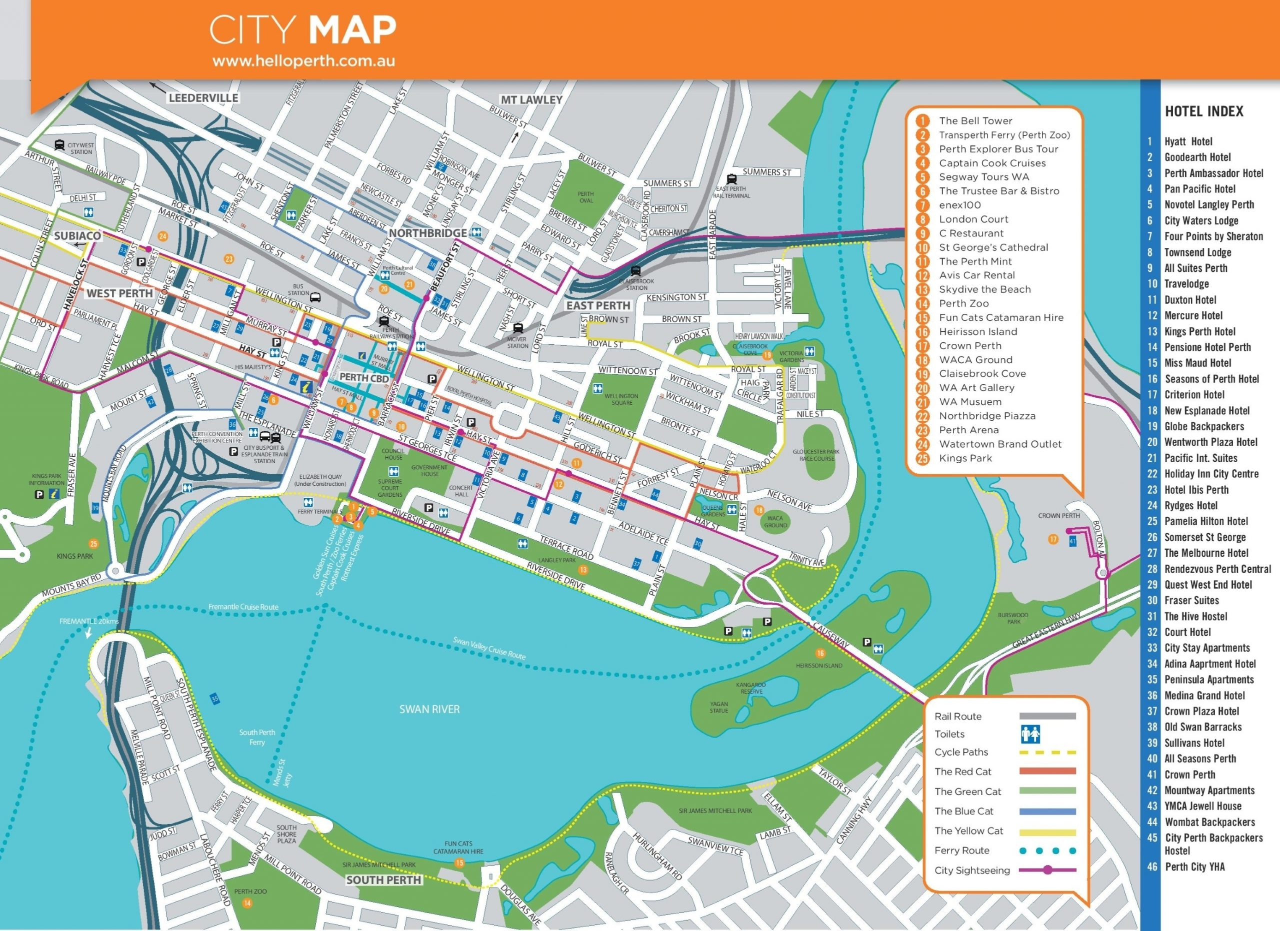 Perth Hotels And Sightseeings Map for City Centre Map Of Melbourne