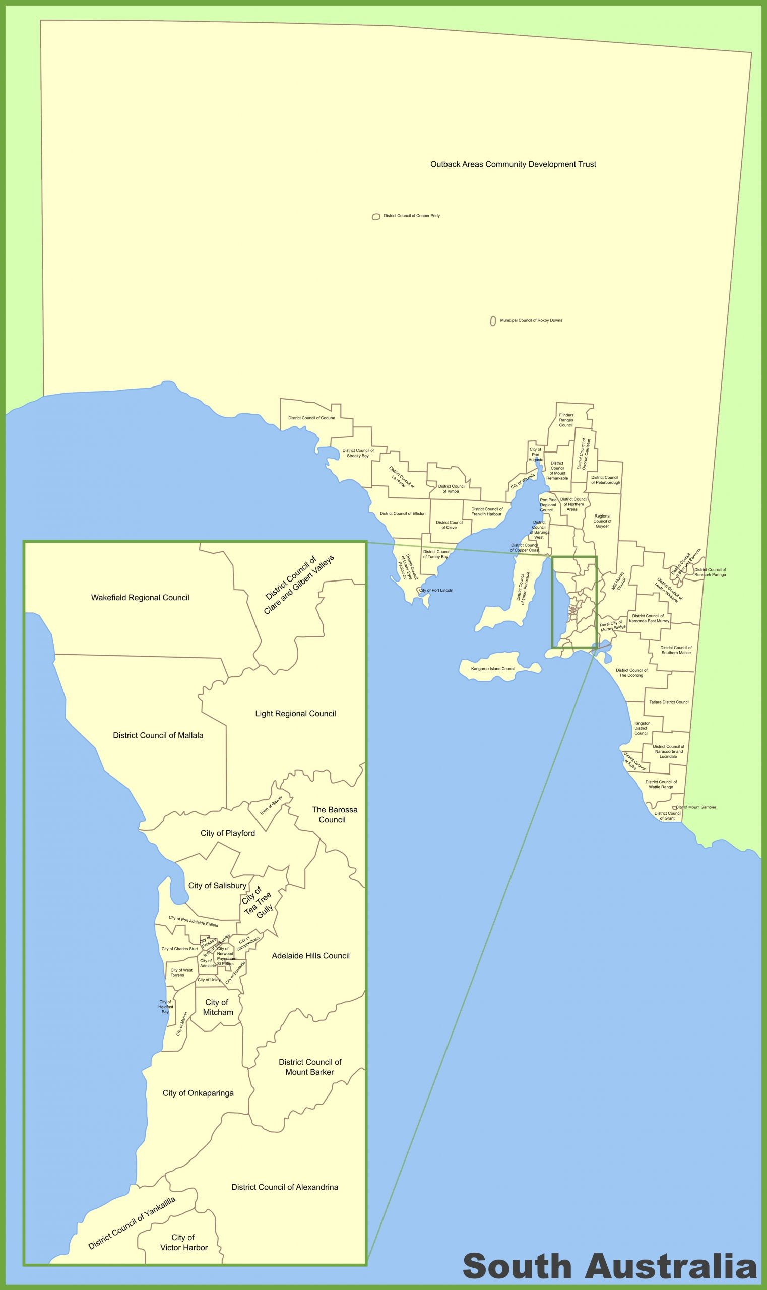 South Australia Local Government Area Map within Melbourne Local Government Areas Map