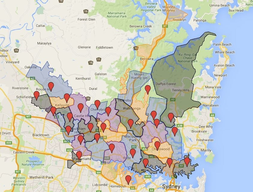 Sydney High School Catchment Map – Australian Public with regard to Melbourne Local Government Area Map
