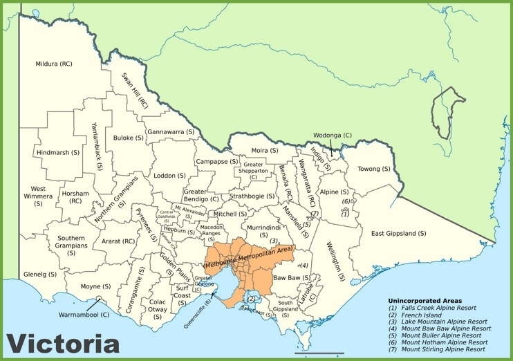 Victoria Local Government Area Map with Melbourne Local Government Areas Map