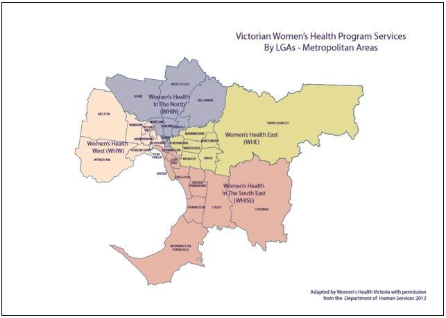 Victorian Women's Health Program Serviceslgas intended for Melbourne Local Government Area Map