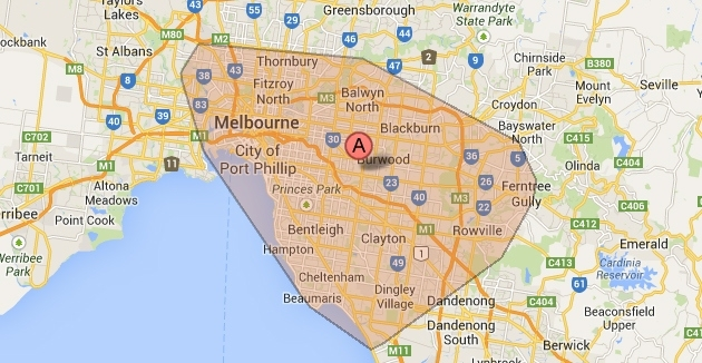 We Services Melbourne Metropolitan Area | Areas We Serve with Melbourne Metropolitan Area Map Lockdown
